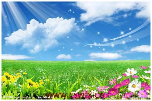 描写蓝天白云草原的优美句子