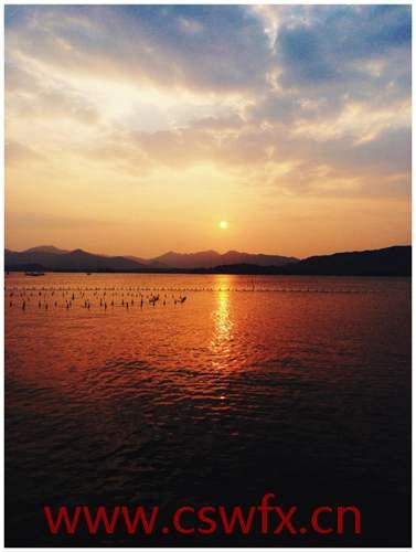 描写西湖夕阳句子